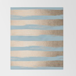 Painted Stripes Gold Tropical Ocean Sea Blue Throw Blanket
