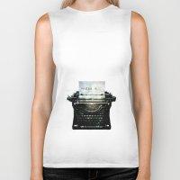 writing Biker Tanks featuring writing press r... by kikkerART