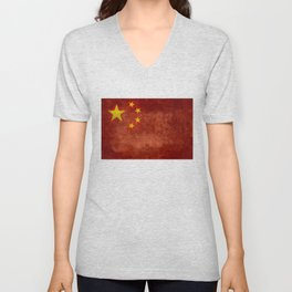 The National flag of the People's Republic of China in Vintage retro distressed texture form Unisex V-Neck