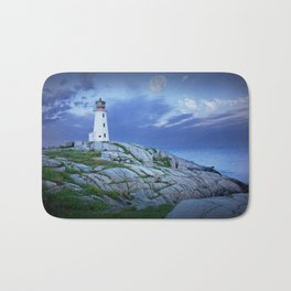 Lighthouse at Peggy's Cove in the Moonlight Bath Mat