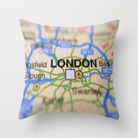 london map Throw Pillows featuring London Map by Brian Raggatt
