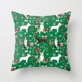 Bull Terrier christmas holiday pet pattern stockings presents dog breed gifts Throw Pillow