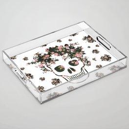 Flower Skull, Floral Skull, Pink Flowers on Human Skull Acrylic Tray