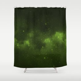 Fascinating view of the green cosmic sky Shower Curtain
