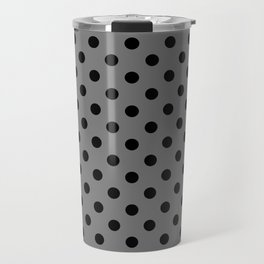 Polka Dot Grey And Black Travel Mug