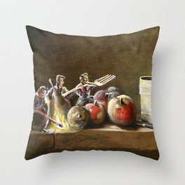 Still Life with Tiny Evil Ashes: After Chardin Throw Pillow