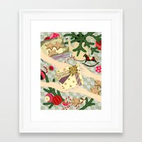 gift card Framed Art Prints featuring Merry Christmas gift by Yuliya