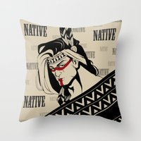native american Throw Pillows featuring Native by memo_alatouly