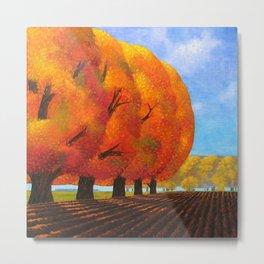 Autumn Blaze Red Maple Trees, October Harvest landscape painting by O. Kvasha Metal Print