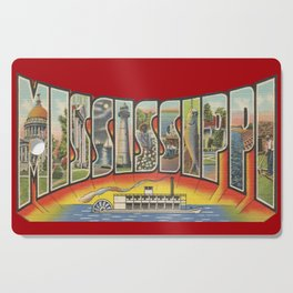 Vintage Big Letter Mississippi with Steam Boat Cutting Board