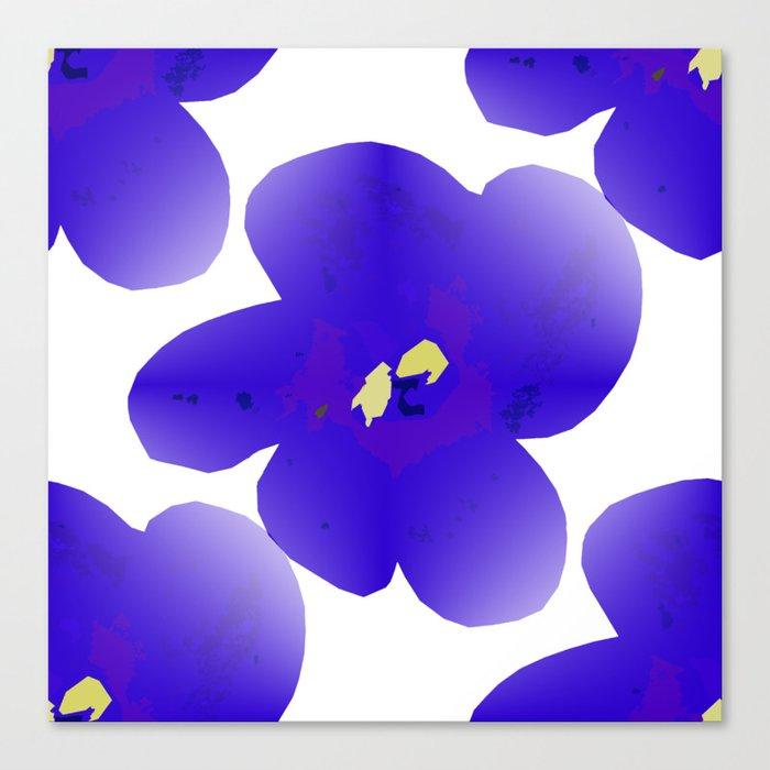 Large Retro Blue Flowers #1 White Background #decor #society6 #buyart Canvas Print