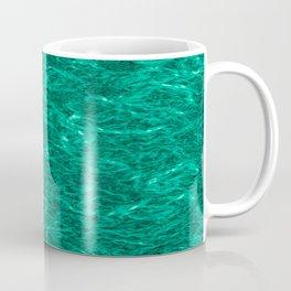 Horizontal metal texture of bright highlights on turquoise waves. Coffee Mug