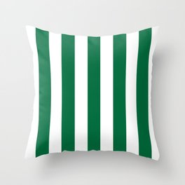 Cadmium green - solid color - white vertical lines pattern Throw Pillow