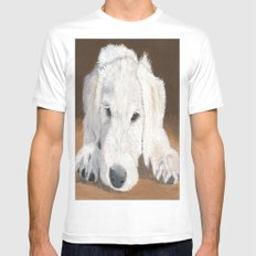 White Labradoodle Pup Mens Fitted Tee White MEDIUM