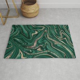 Emerald Green Black Gold Glitter Marble #1 #decor #art #society6 Rug