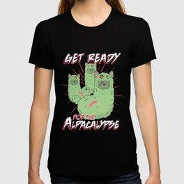 Zombie Alpaca Lips Halloween Pun Llama Alpacalypse Dark T-shirt