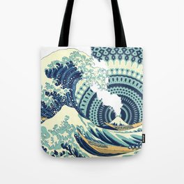 The Great Wave Eruption And Kaleidoscope Bacground Tote Bag