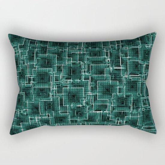 The Maze - Teal Rectangular Pillow