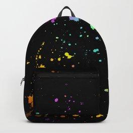 Rainbow Splatter on Black Backpack