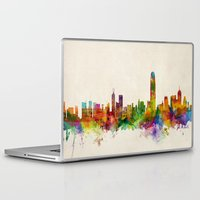 hong kong Laptop & iPad Skins featuring Hong Kong Skyline by artPause