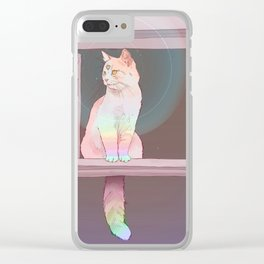 Psychedelic Cat Clear iPhone Case