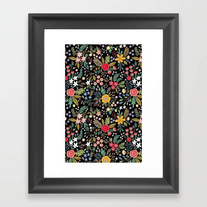 Amazing floral pattern with bright colorful flowers, plants, branches and berries on a black backgro Gerahmter Kunstdruck