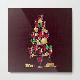 Happy Red Wine Tree Metal Print