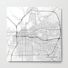 Montgomery Map, USA - Black and White Metal Print
