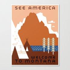 Vintage Montana Travel - See America Canvas Print