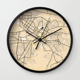 Kabul Yellow City Map Wall Clock