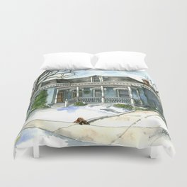 A Cozy Winter Cottage Duvet Cover