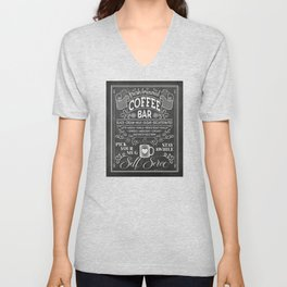 Chalkboard Coffee Bar Sign with Typography  Unisex V-Neck