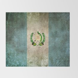 Old and Worn Distressed Vintage Flag of Guatemala Throw Blanket