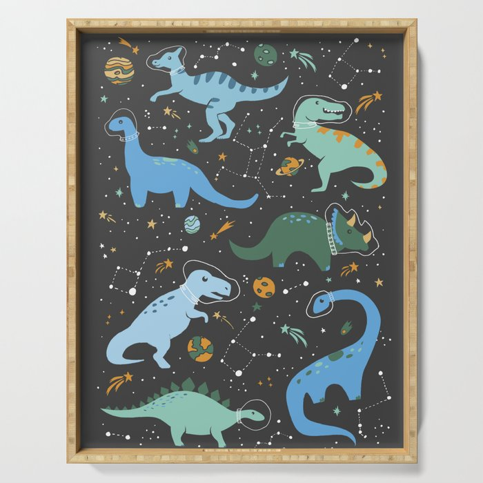 Dinosaurs in Space in Blue Serving Tray