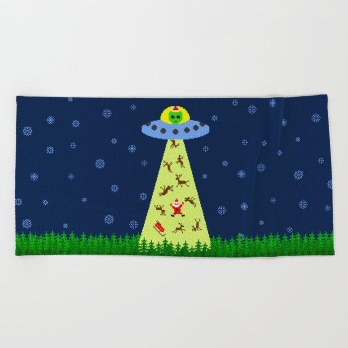 Alien abduction of Santa Claus (sweater) Beach Towel