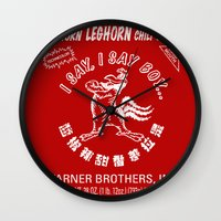 sriracha Wall Clocks featuring Foghorn Leghorn Sauce (White) by Huemanitee