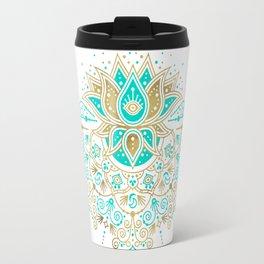 Sacred Lotus Mandala – Turquoise & Gold Palette Travel Mug