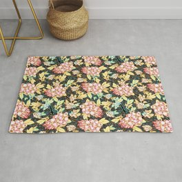 Elegant Blueberry Flowers Rug