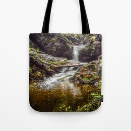 Ducklings swimming at the waterfall Tote Bag