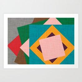 Kilim Flower grey Art Print