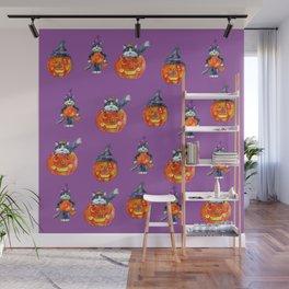 Black Cats and Jack-o-lanterns Wall Mural