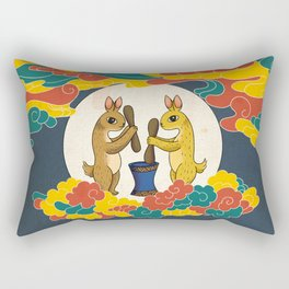 Minhwa: Moon Rabbit B Type Rectangular Pillow