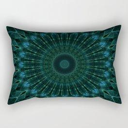 Mandala in dark green and blue tones Rectangular Pillow