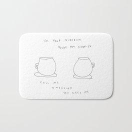 Best Friends Coffee Cups -  kitchen illustration cafe tea family Bath Mat