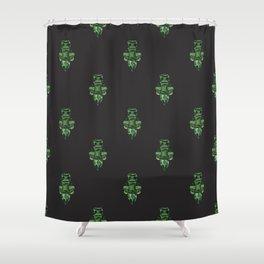 Jewelbox: Emerald Brooch Repeat in Black Onyx Shower Curtain