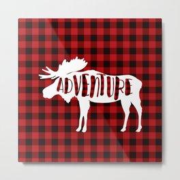 Red Buffalo Plaid Moose ADVENTURE typography Metal Print