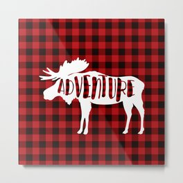 Red Buffalo Plaid Moose ADVENTURE typography Metal Print