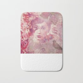 Lost Moments woman romantic illustration in shades of red Bath Mat