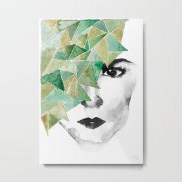 Female Hero in Green Metal Print