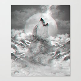 Maybe the Wolf Is In Love with the Moon v.2 (3D Effect) Canvas Print